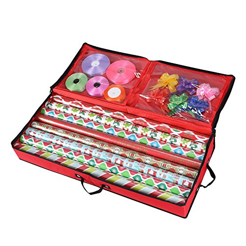Storage Organizer for 30 Inch Wrapping Paper, Ribbon and Bows (Red)