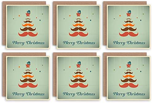 Wee Blue Coo Christmas Cards 6 Pack Moustache Tree Hipster Set Blank Xmas Cards Cristo Árbol: Amazon.es: Hogar