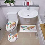 Non Slip Bath Shower Rug,Wanderlust Decor,World Map Made by Names Continents Europe America Africa Asia Graphic Art Decorative,Multi,U-Shaped Toilet Mat
