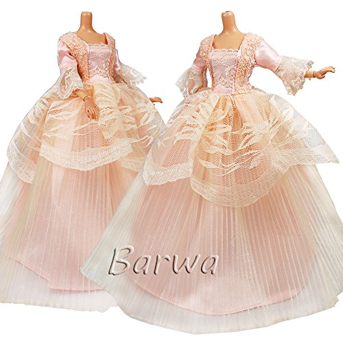 Barwa Princess Evening Party Clothes Wears Dress Outfit Set for Barbie Doll by Barwa