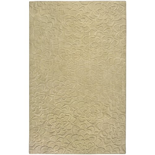 - CC Home Furnishings 2' x 3' Bas-Relief Bouquet Split Pea Green Wool Rectangular Area Throw Rug