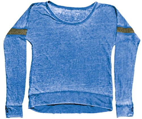 (iscream Big Girls' Long Sleeve Burnout Rugby Shirt - Navy w/Khaki Stripe, X-Lg)