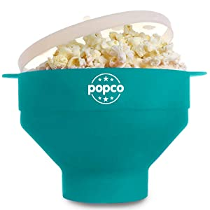 The Original POPCO Microwave Popcorn Popper, Silicone Popcorn Maker, Collapsible Bowl BPA Free & Dishwasher Safe (Aqua)