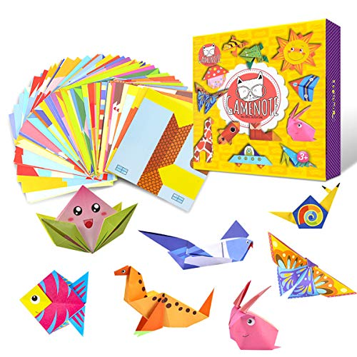 (Gamenote Colorful Origami Kit with 55-Page Instructional Book 108 Double Sided Vivid Origami Papers 54 Projects Origami for Kids Beginners Trainning and School Craft Lessons)