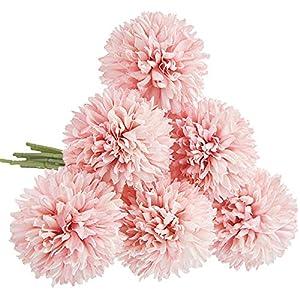 CQURE Artificial Flowers, Fake Flowers Silk Artificial Hydrangea 6 Heads Bridal Wedding Bouquet for Home Garden Party Wedding Decoration 6Pcs (Light Pink)