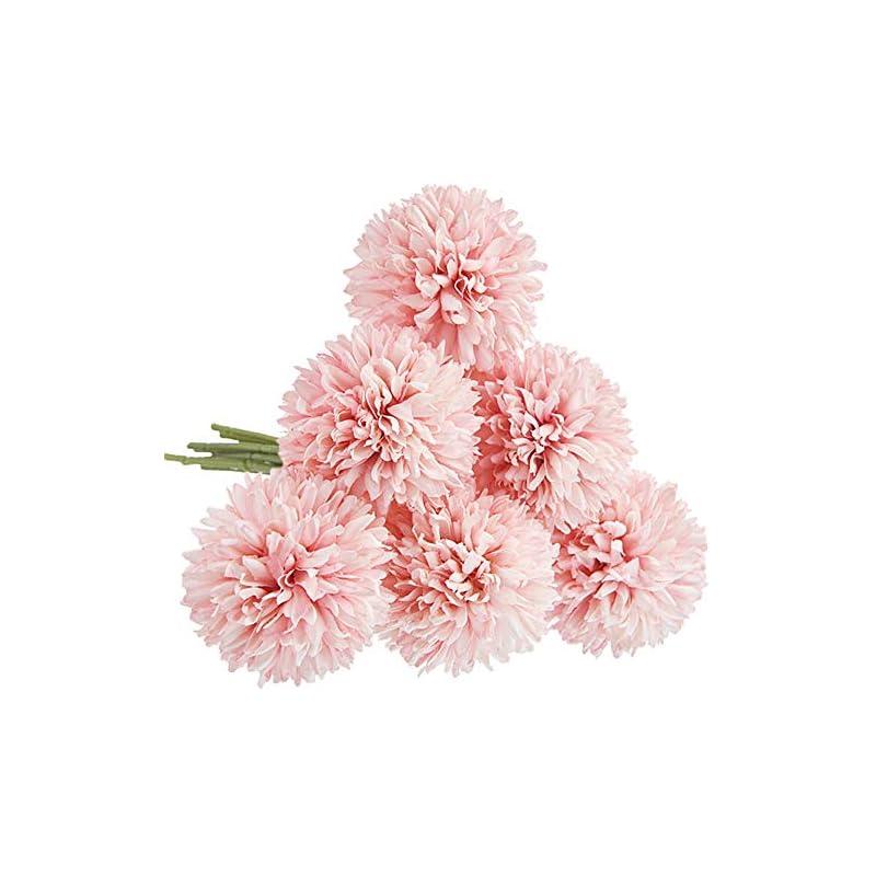 silk flower arrangements cqure artificial flowers, fake flowers silk artificial hydrangea 6 heads bridal wedding bouquet for home garden party wedding decoration 6pcs (light pink)