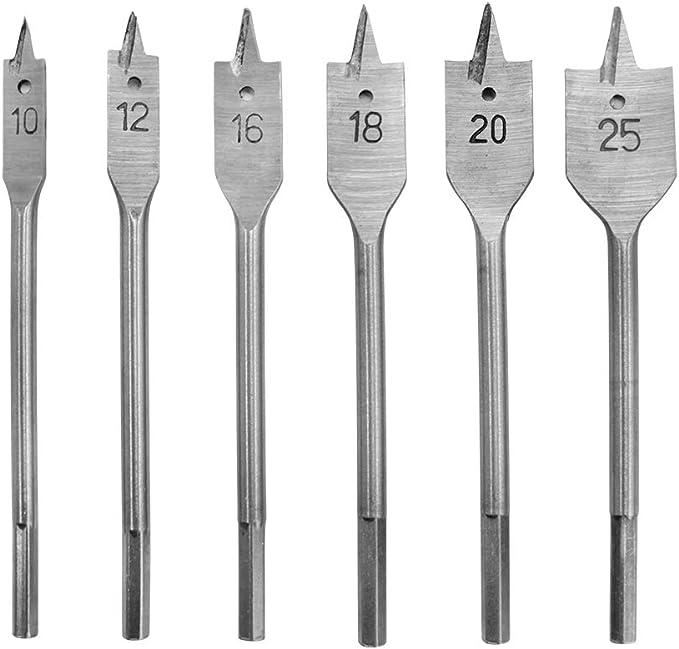 metrisches Bohrer-Set Holzbohrer Holzbearbeitungslochschneider f/ür die Holzbearbeitung 6-25 mm Flachkopf HCS-Holz-Flachbohrer-Spatenbohrer-Set 15-teiliges Holz-Flachbohrer-Set