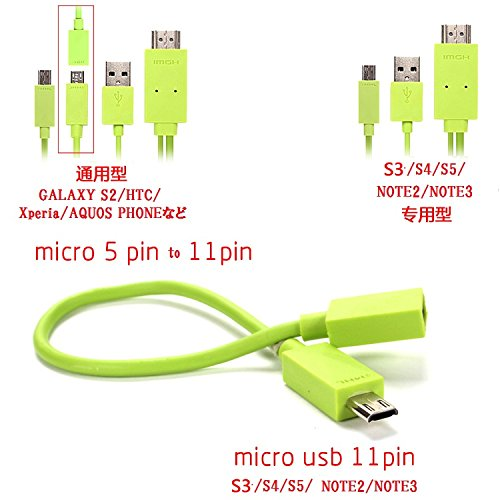 PCATEC Colorful Micro USB 5Pin & 11Pin MHL To HDMI 1080P HDTV AV Cable Adapter For Android Phone Galaxy Note3 2 S5 S4 S3 S2 S1 (green)