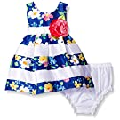 Sweet Heart Rose Baby Striped Floral Pleated Shantung Dress with Diaper Cover, Blue/Multi, 12 Months
