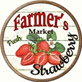 Farmers Market Strawberry Novelty Metal Circular Sign C-626