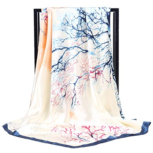 (Fonshow Silk Like Scarf Neck Scarves Women's Large Square Satin Hair Scarf 35 x 35 inches (AC35))