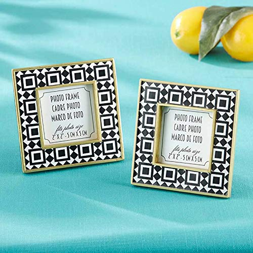Tropical Chic Geometric Tile Patterned Photo Frame/Place Card Holder - Set of 24 - Perfect Decoration & Party Favors for Weddings, Baby Showers, Bridal Shower or Home Décor