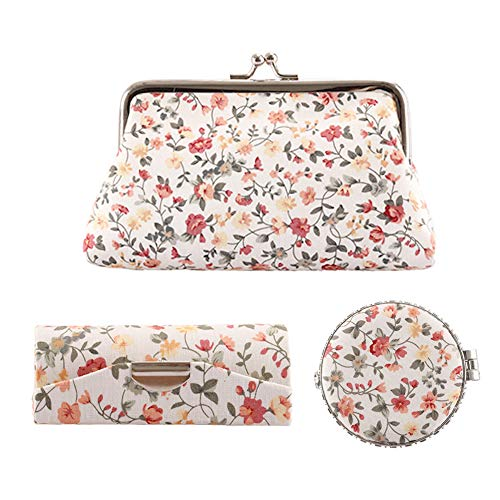 (Rocutus 3pcs/Set Flower Embroidered Kiss-lock Coin Purse Wallet Cosmetic Organizer Include Kiss-Lock Clasp Clutch Purse Butterfly Closure Mirror Snap Button Lipstick Case)