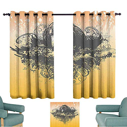 DILITECK Sliding Curtains Black Decor Halloween Theme Vector Illustration of a Wicked Crow and Flowers Print Thermal Insulated Tie Up Curtain W84 xL72 Black and Mustard
