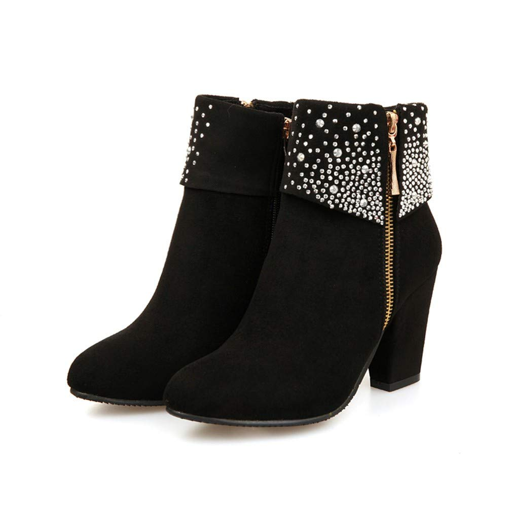 Warm Boots Round Toe Shoes Women Crystal Thick Square Flock Ankle Zipper