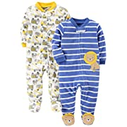 Simple Joys by Carter's Baby 2-Pack Cotton Footed Sleep and Play, Bear/Turtle, Newborn