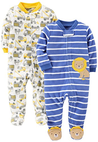 Simple Joys by Carter's Baby Boys' 2-Pack Fleece Footed Sleep and Play, Construction/Lion, Newborn