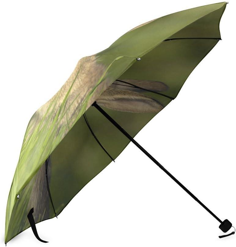 Custom Cute Rabbit Compact Travel Windproof Rainproof Foldable Umbrella