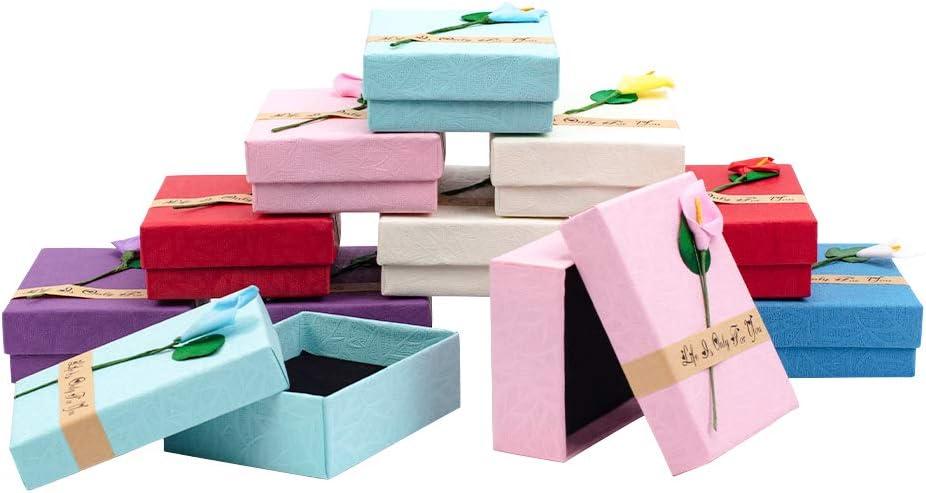 NBEADS Caja de Joyería, Caja de Regalo Rectangular de Cartón de 12 Pc con Esponja Negra, Color Mezclado, 9X7X3 Cm: Amazon.es: Hogar