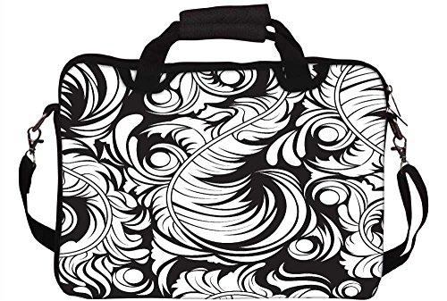 Snoogg White Leaf Muster 30,5cm 30,7cm 31,8cm Zoll Laptop Notebook Computer Schultertasche Messenger-Tasche Griff Tasche mit weichem Tragegriff abnehmbarer Schultergurt für Laptop Tablet PC Ultrabo