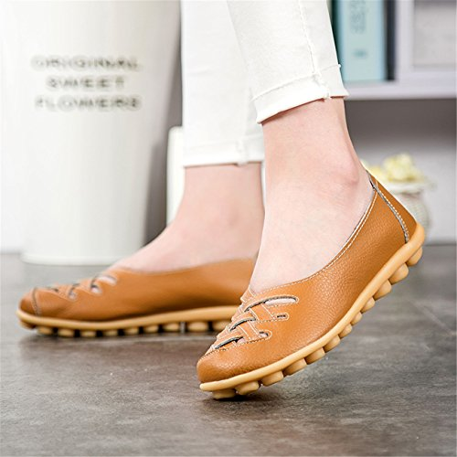 For New Hollow Beginning Loafers Leather Marron Moccasins Auspicious Women Out Flats 58qPw6Cn