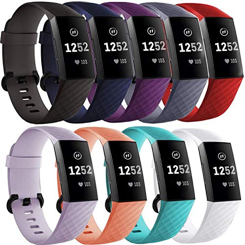 FAANDFA Waterproof Bands Compatible with Fitbit Charge 3 and Charge 3 SE Fitness Tracker, Sport Bands Replacement Strap Accessories Wristbands with Metal Buckle for Women Men, Large - 9 Pack ()