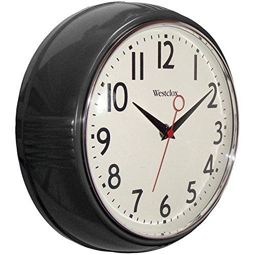 Westclox 32042R Retro 1950 Kitchen Wall Clock, 9.5-Inch Black