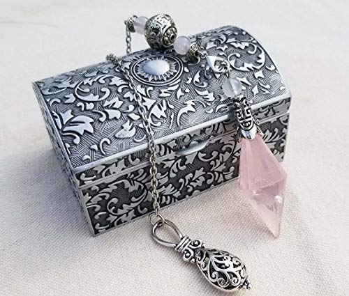 Spirit Hunter 100% Natural ICE Rose Quartz Crystal Professional Dowsing Divination Pendulums Pendant Vintage Zinc Alloy Jewelry Box Included.
