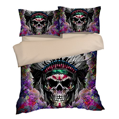 Awesome Indian Colorful Skull Cotton Microfiber 3pc 90''x90'' Bedding Quilt Duvet Cover Sets 2 Pillow Cases Queen Size by DIY Duvetcover