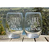 Cottage Life Wine Glasses Set, Gifts for the Cottage, 2 Etched Wine Glasses