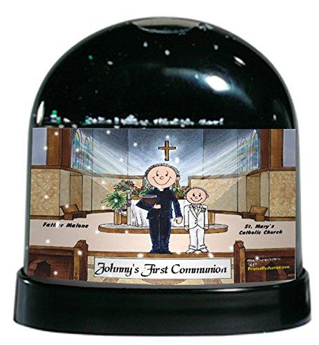Personalized Friendly Folks Cartoon Caricature Snow Globe Gift: Communion, Boy - Male Priest Great for First Communion, (Hairstyles First Communion)