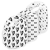 Muslin Cotton Baby Bibs 3 Pack by Fawn Hill Co - Unisex Black and White Desig...