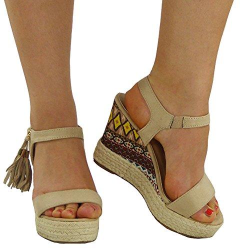 New Ladies Sandals 3 Womens Shoes Wedge 8 High Zip Size Beige Ankle Espadrilles Tassel rAr5wxpZq
