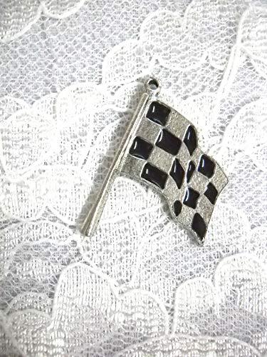 Adj Race - New USA Racing Finish LINE Checkered Flag Race Pendant ADJ Race Necklace