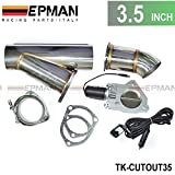 Electric Exhaust DUMPS Cutout Stainless Steel Cutouts 3.5 inch+Piping+Switch TK-CUTOUT35