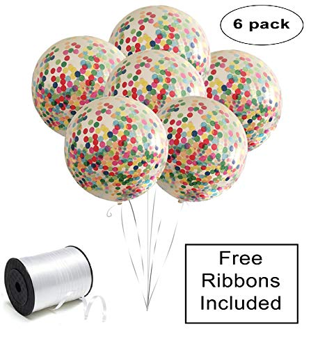 "Confetti Balloons 36"" giant reusable clear six pack set (6pcs) FREE ribbons included with prefilled multicolor paper crepe, for parties, helium & air latex jumbo by Inteliproducts central"