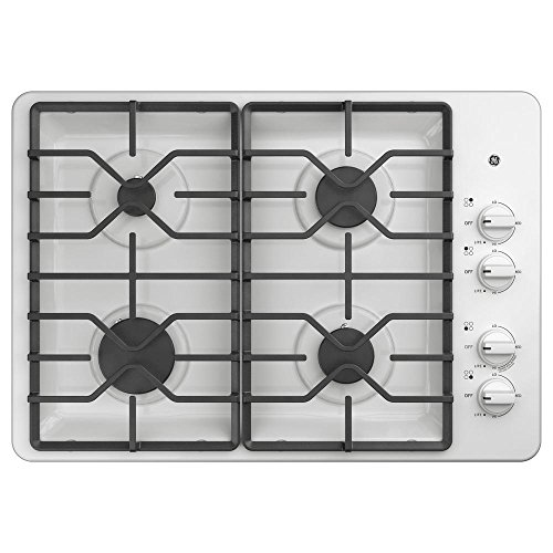 Ge Natural (GE JGP3030DLWW 30 Inch Natural Gas Sealed Burner Style Cooktop with 4 Burners, ADA Compliant, in White)