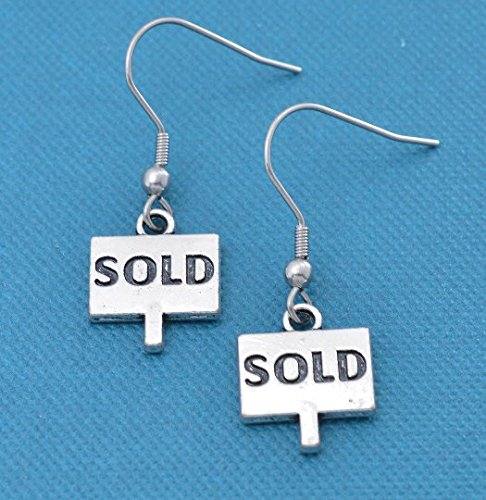 Sold earrings in silver toned metal. Real estate jewelry. Gift for Real estate Agent Silver earrings. Wire earrings. -