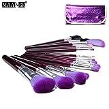 MAANGE 16pcs Makeup Brush Set tools Make-up Wool Kit+Purple Pouch Bag (Purple )
