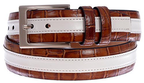PGA TOUR Men's Croc Embossed Leather Stripe Belt with Silver Tone Buckle (Tan, 42)