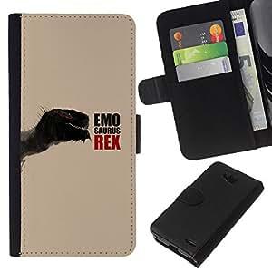 LECELL--Cuero de la tarjeta la carpeta del tirón Smartphone Slots Protección Holder For LG OPTIMUS L90 -- Emosaurus Rex divertido dinosaurio --