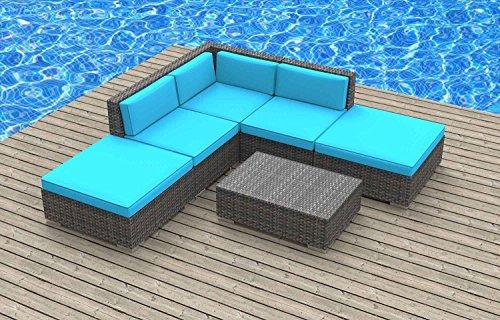 UrbanFurnishing.net Bali Patio Furniture, 6-Piece Sea Blue (Bali Cheap Furniture)