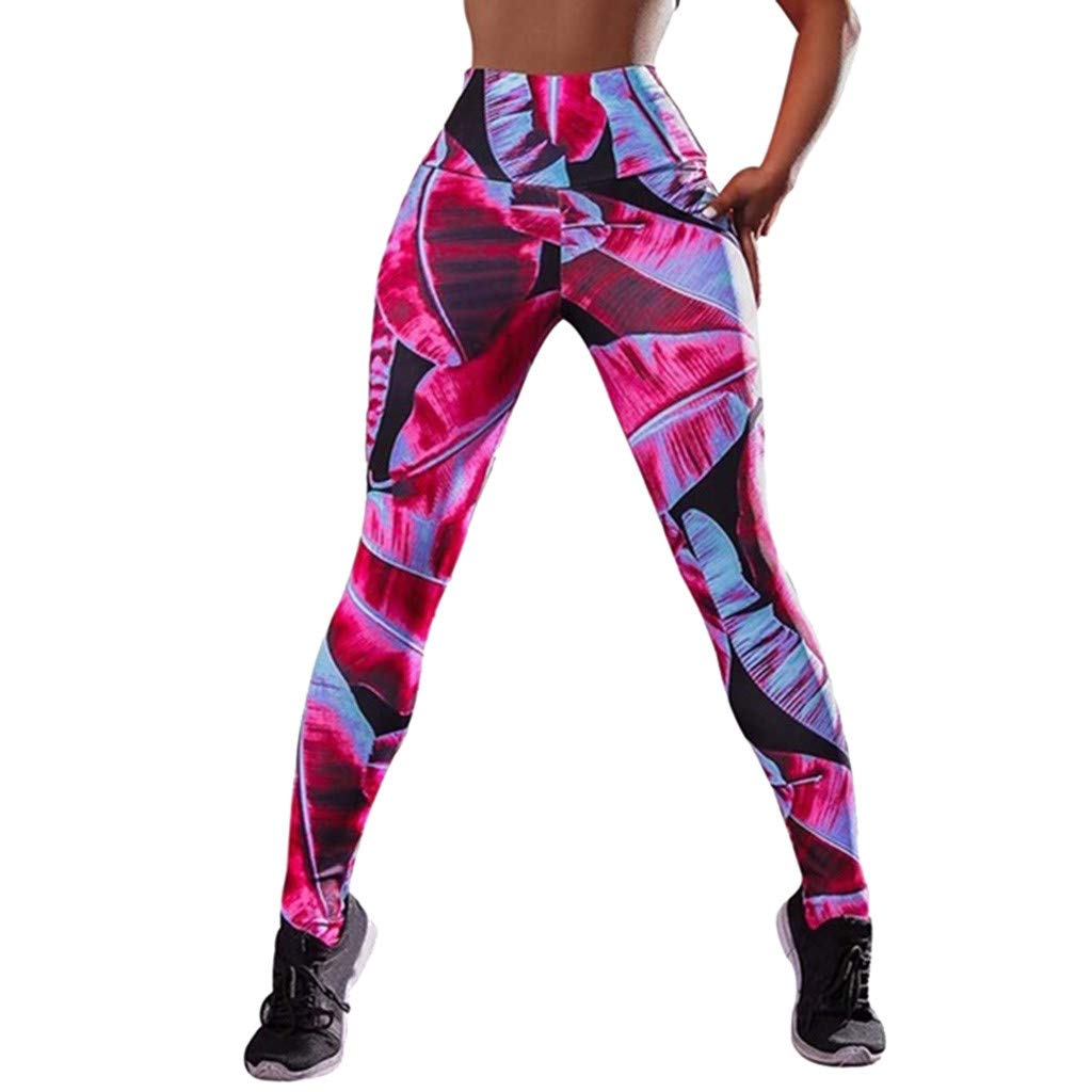 CapsA Printed Leggings for Women Workout Leggings Fitness Sports Gym Running Yoga Athletic Pants Pink