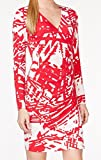 Calvin Klein Women's Petite Long Sleeve Printed Side Ruched Dress, Lipstick/Cream, 6 Petite