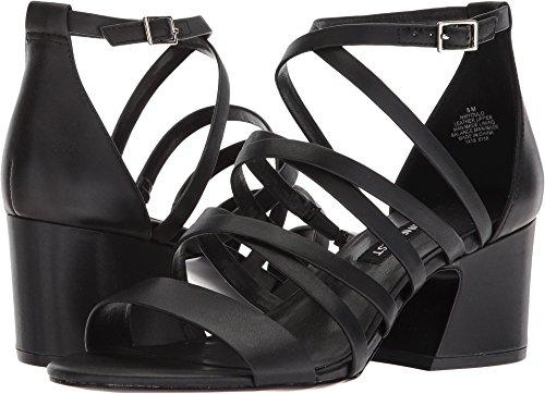 Nine West Women's Youlo Strappy Block Heel Sandal Black Leather 6.5 M US