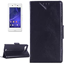 For cellphone Cases, Oil Skin Texture Horizontal Flip Leather Case with Card Slots &Wallet &Holder for Sony Xperia E3 ( Color : Black )