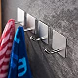 YIGII Towel Hooks/Bathroom hook - 3M Self Adhesive Hooks Office Hooks Hanging Keys for Kitchen Stick on Wall Stainless Steel 4 Packs
