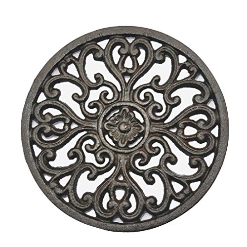 """PER-HOME Round Vintage Pattern – 6.72 """" 6.72 """" Cast Iron Trivet With Rubber Pegs/Feet for Kitchen Counter Or Dining Table"""