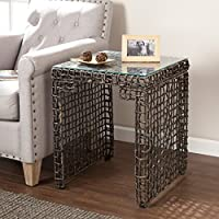 Southern Enterprises Loni Woven End Table, Dark, Black Washed Brown Finish