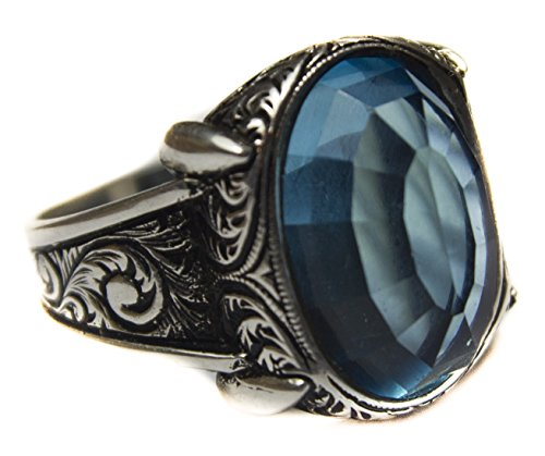 Sterling silver men ring handmade, created-aquamarine stone, Express Shipping